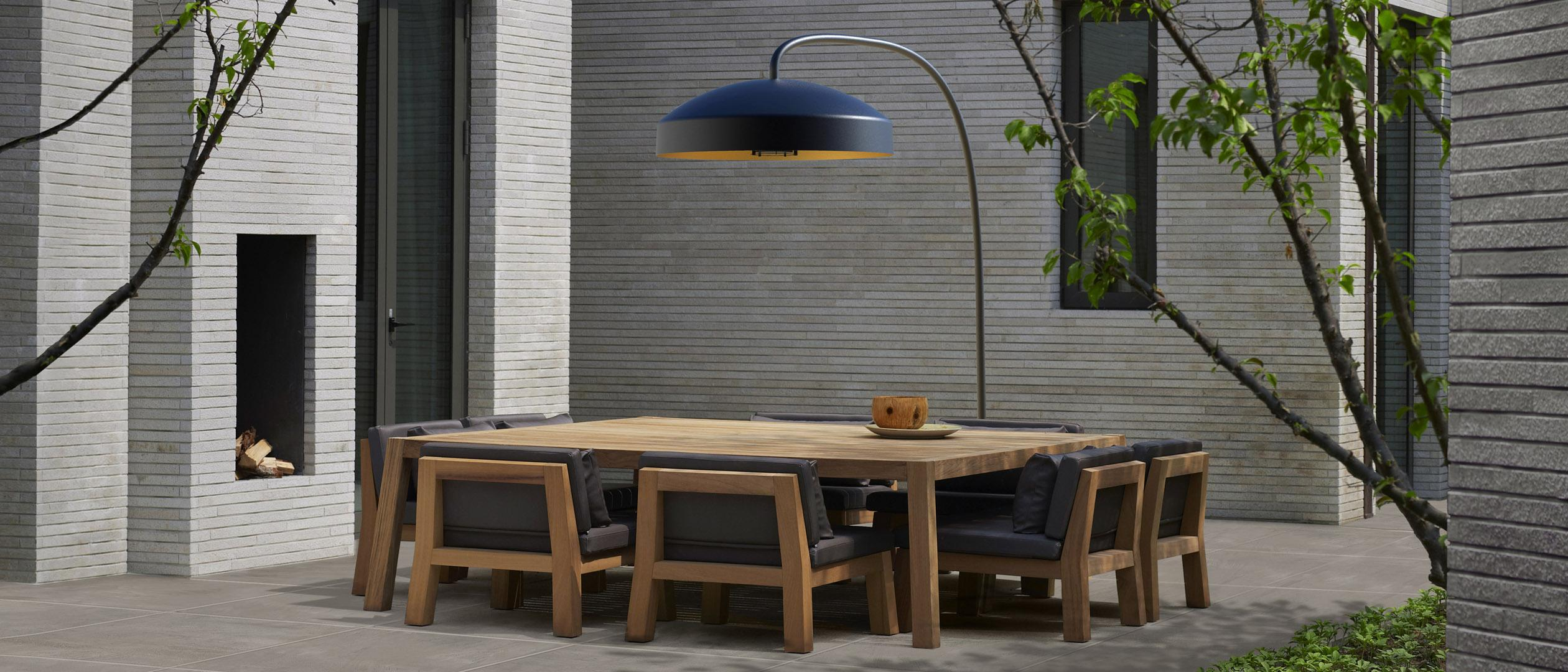 Outdoor furniture, patio heater and outdoor tiles