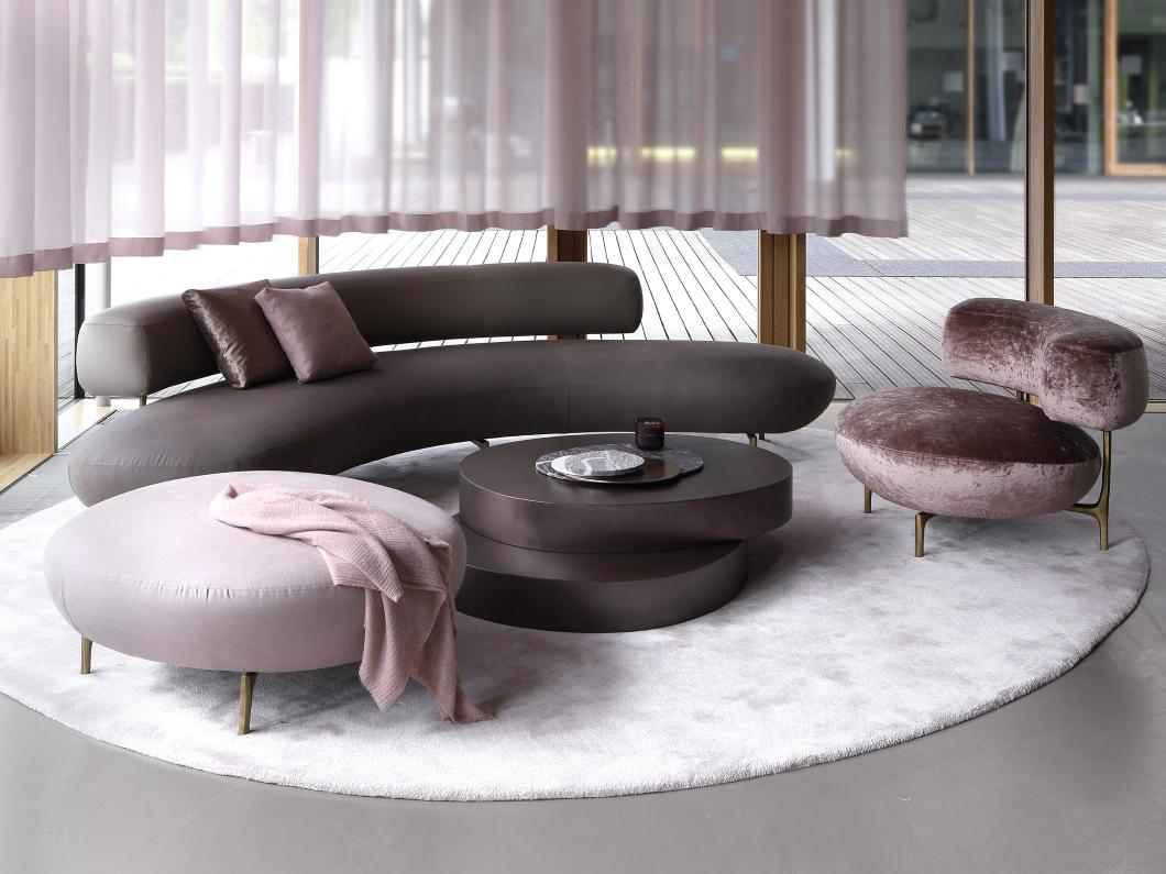 ODE coffee table and ELLA sofa, armchair and pouf at Milan furniture fair 2017