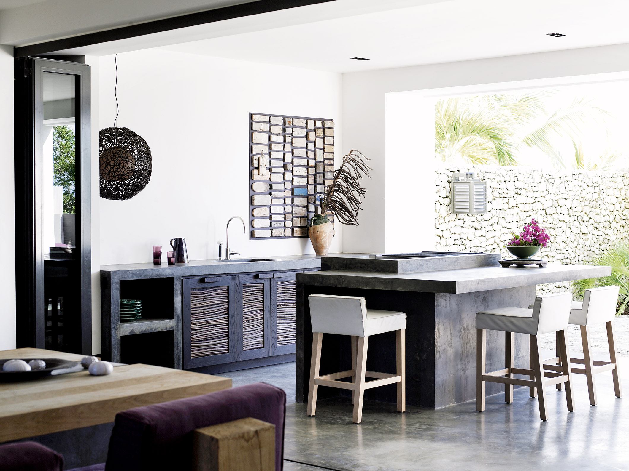 Caribbean beach residence with SAAR kitchen stool
