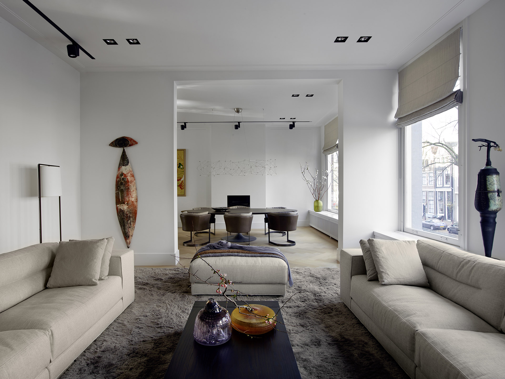 Canal house in Amsterdam with DIEKE sofa and pouf and TOOS coffee table