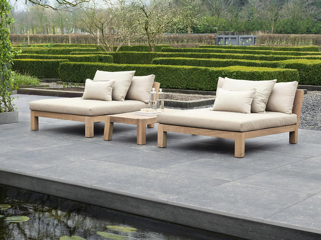 GIJS daybed, ANNET outdoor coffee table and outdoor concrete black tiles by Douglas & Jones