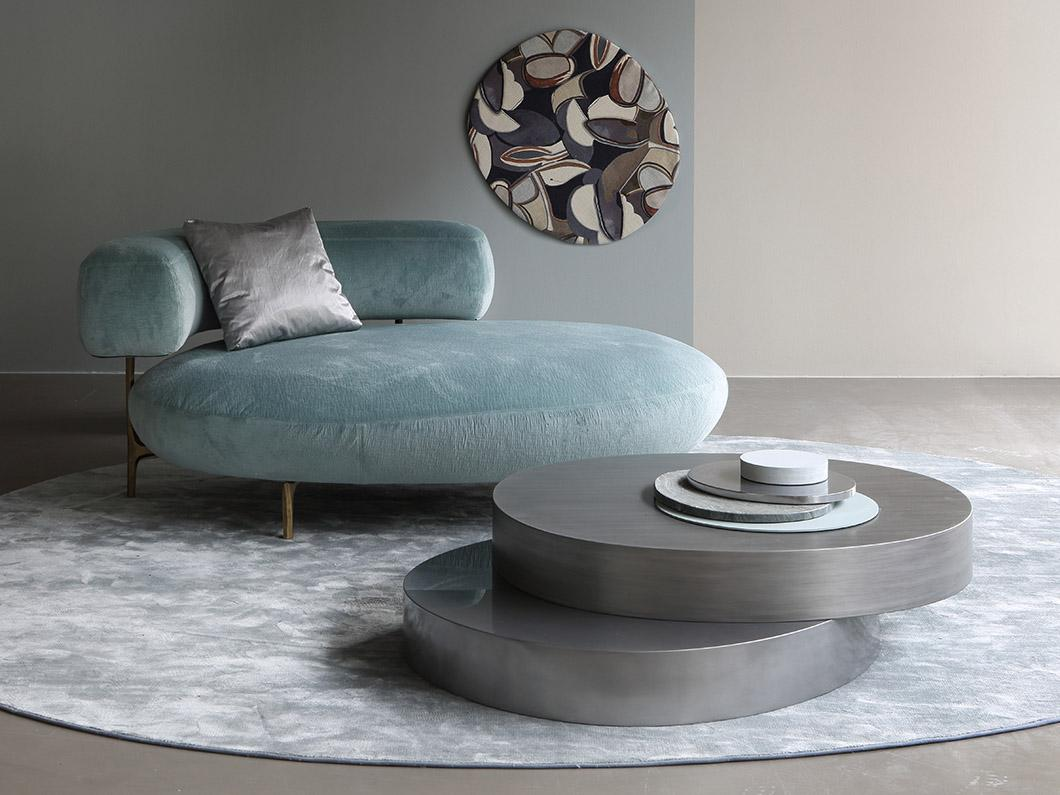 ELLA longchair & pouf and ODE coffee table at Milan Furniture Fair
