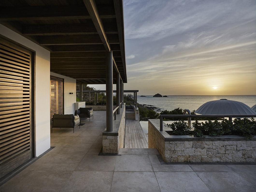 Sun set at luxury beach residence on Antigua