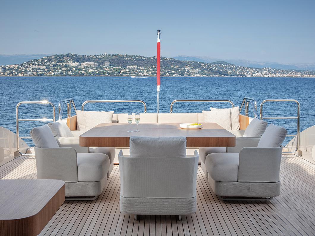 Deck on Mangusta yacht
