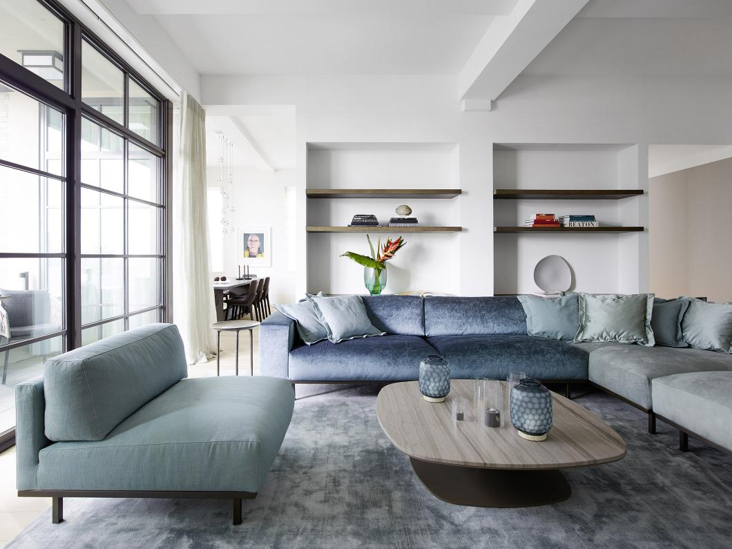 KEK coffee table and DON sofa and armchair at Metropolitan penthouse