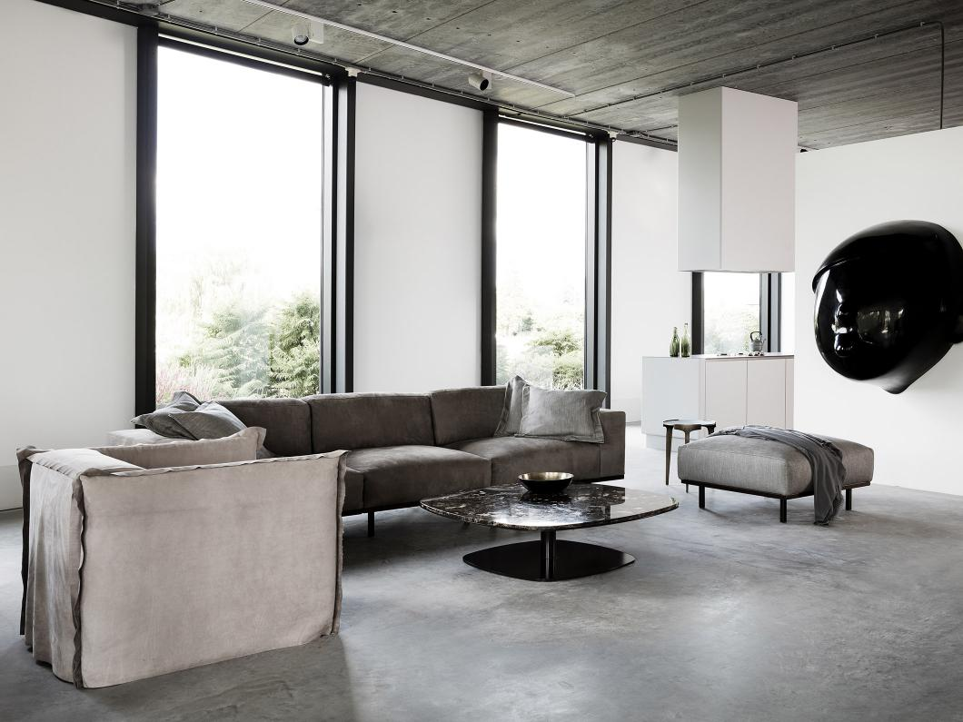 KEK coffee table, DON sofa, armchair and pouf, FEDDE armchair and HERO side table