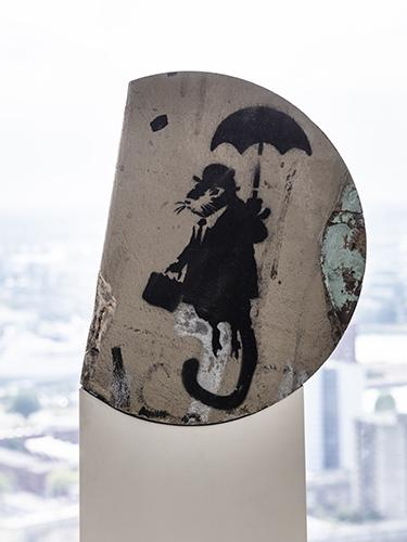 Art by Banksy at penthouse in Rotterdam