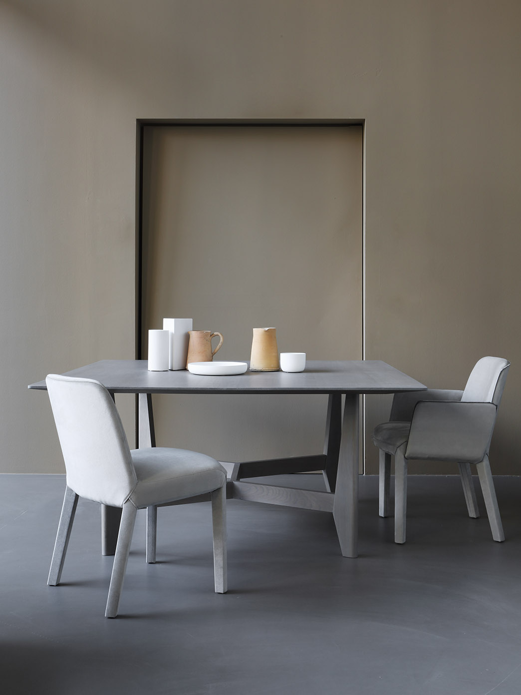 YKE dining table and MINNE dining chair at  Milan furniture fair
