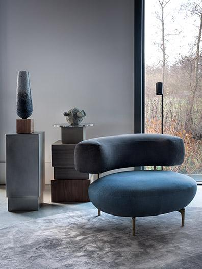 ELLA armchair, KYO console and TRIBE floorlamp by Maretti Lighting