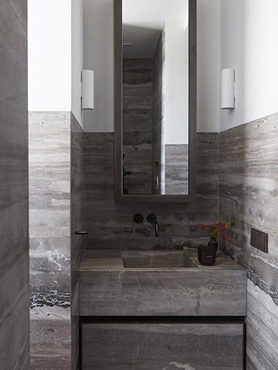 Marble wash basin at beach residence on Bonaire