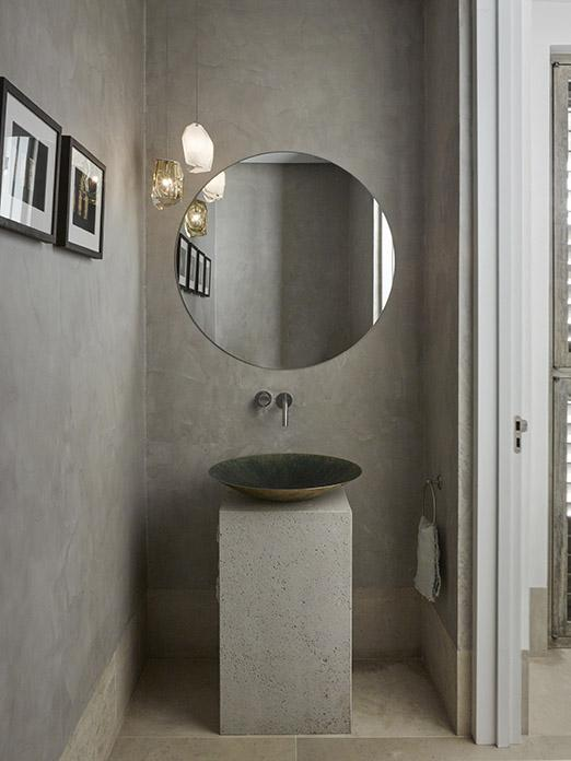 Wash basin with mirror and Cocoon tap at luxury beach residence on Antigua