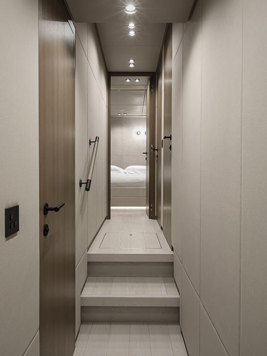 Corridor on Mangusta yacht