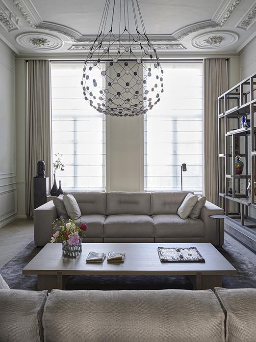Living room at spacious canal house in Amsterdam